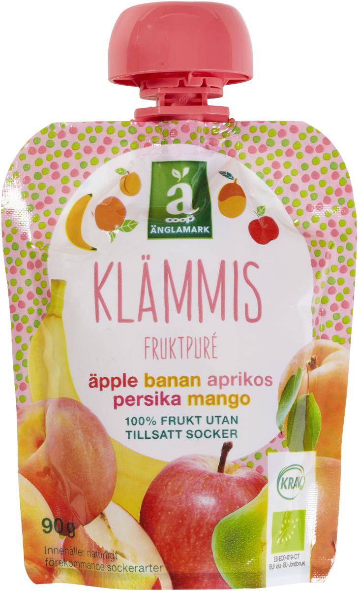 Klämmis - Äpple, banan, aprikos, persika, mango