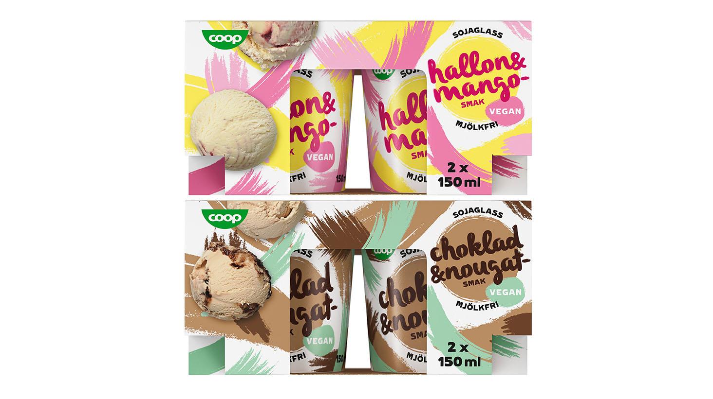 Coop lanserar vegansk och mjölkfri glass