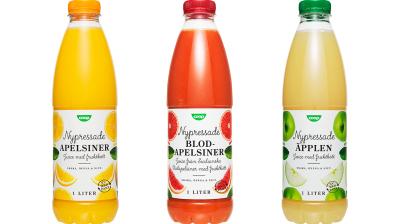 Återvunnen PET nu i Coops juice- och vattenflaskor